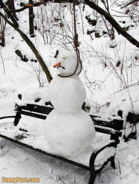 Suicidal Snowman Funny Picture